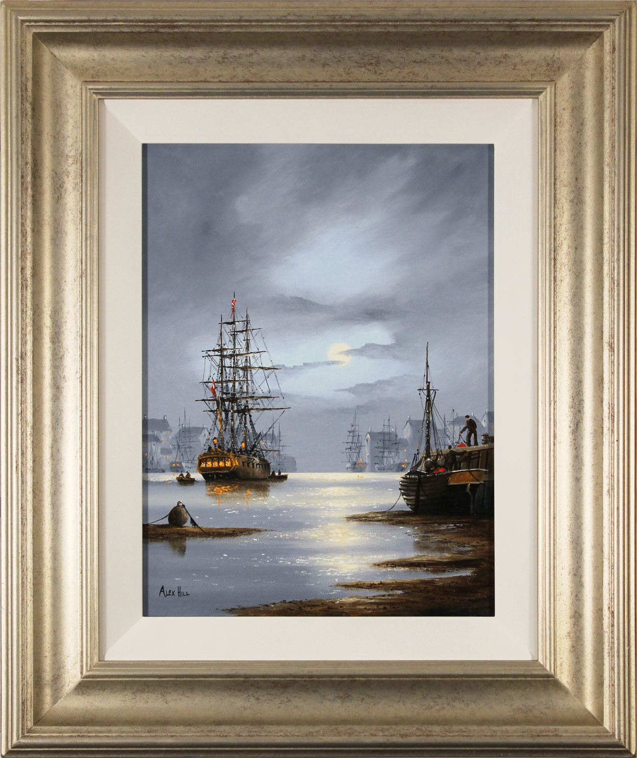 Alex Hill, Original oil painting on panel, Moonlight Mooring Click to enlarge