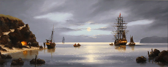 Alex Hill, Original oil painting on canvas, Smuggler's Cove No frame image. Click to enlarge