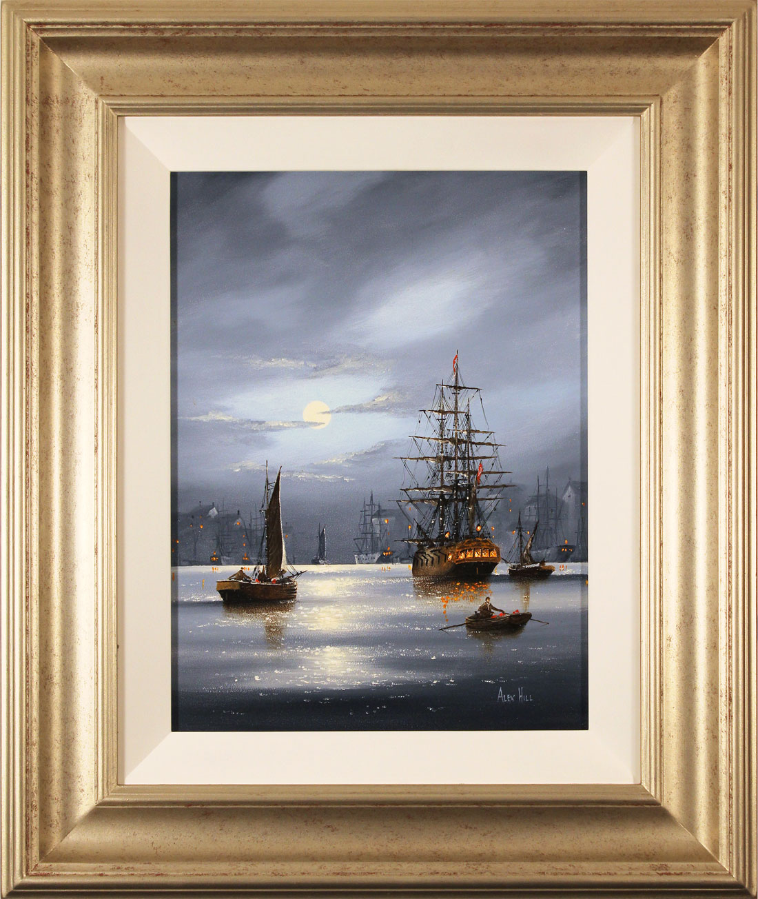 Alex Hill, Original oil painting on panel, Harbour Lights Click to enlarge