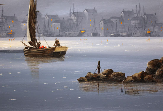 Alex Hill, Original oil painting on canvas, Lifting Anchor Signature image. Click to enlarge