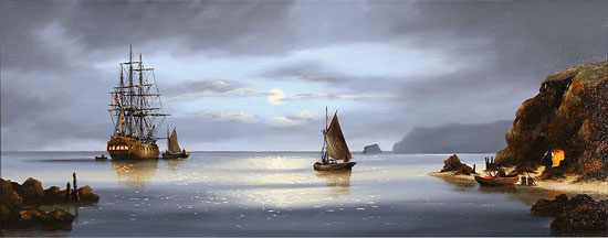 Alex Hill, Original oil painting on canvas, Return to Smuggler's Cove No frame image. Click to enlarge