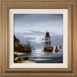 Alex Hill, Original oil painting on canvas, Moonlight Mooring
