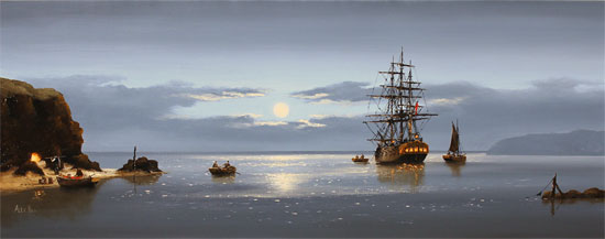 Alex Hill, Original oil painting on canvas, Moonlight Delivery No frame image. Click to enlarge