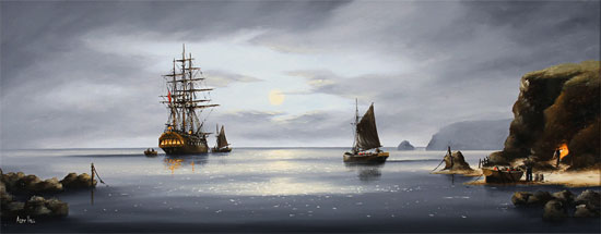 Alex Hill, Original oil painting on canvas, Moonlight Smugglers No frame image. Click to enlarge
