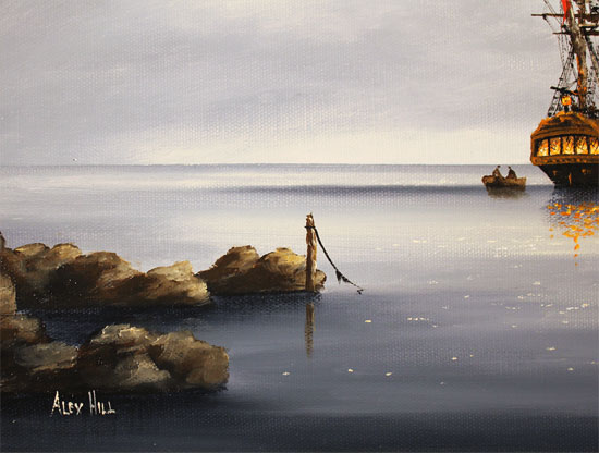Alex Hill, Original oil painting on canvas, Moonlight Smugglers Signature image. Click to enlarge