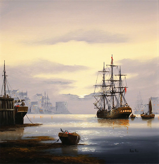 Alex Hill, Original oil painting on canvas, Sunrise Harbour No frame image. Click to enlarge