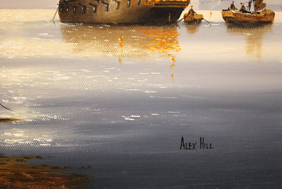 Alex Hill, Original oil painting on canvas, Sunrise Harbour Signature image. Click to enlarge