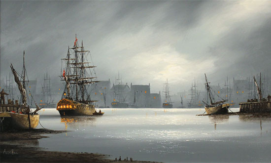 Alex Hill, Original oil painting on panel, Moonlight Harbour No frame image. Click to enlarge