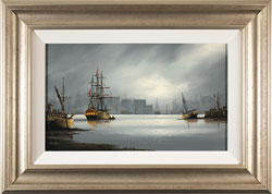 Alex Hill, Original oil painting on panel, Moonlight Harbour Medium image. Click to enlarge