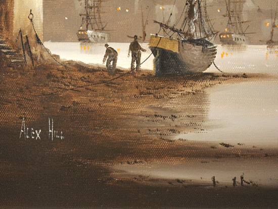 Alex Hill, Original oil painting on canvas, Foggy Evening at Whitby Harbour