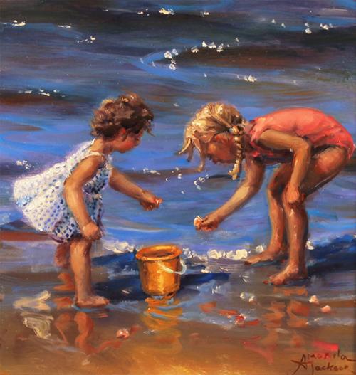 Amanda Jackson, Original oil painting on panel, Pebbles and Shells No frame image. Click to enlarge