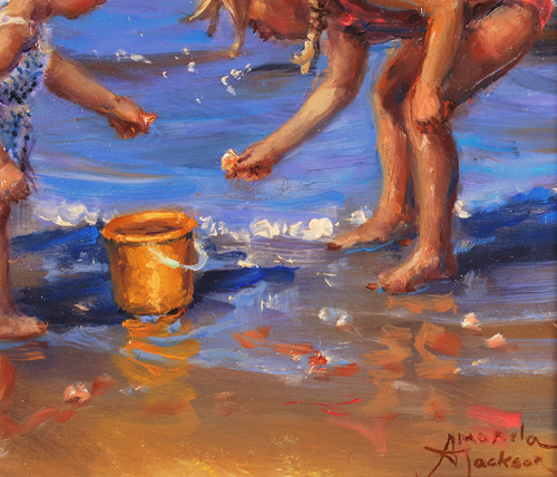 Amanda Jackson, Original oil painting on panel, Pebbles and Shells Signature image. Click to enlarge