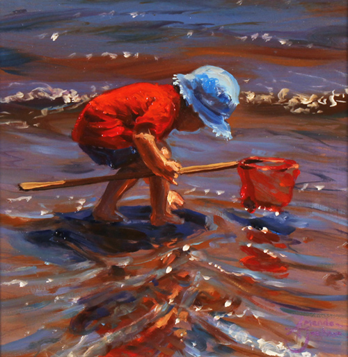 Amanda Jackson, Original oil painting on panel, Paddling for Pebbles No frame image. Click to enlarge