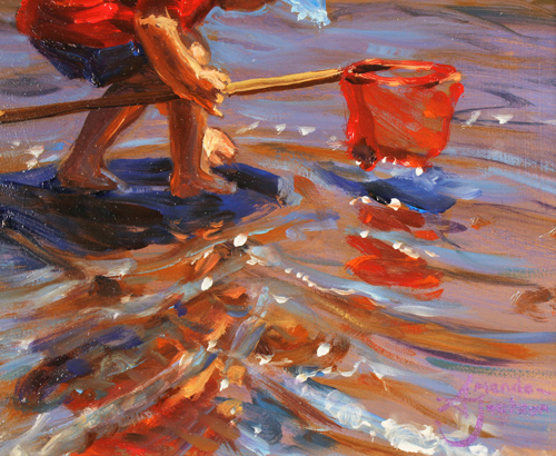 Amanda Jackson, Original oil painting on panel, Paddling for Pebbles Signature image. Click to enlarge