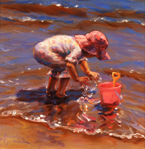 Amanda Jackson, Original oil painting on panel, Splish Splash No frame image. Click to enlarge