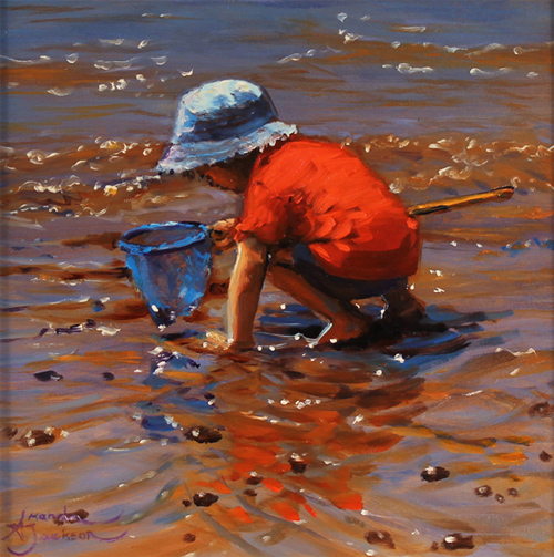 Amanda Jackson, Original oil painting on panel, A Curious Catch No frame image. Click to enlarge