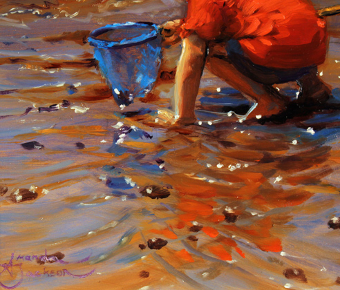 Amanda Jackson, Original oil painting on panel, A Curious Catch Signature image. Click to enlarge