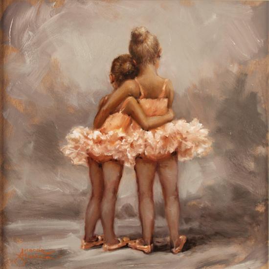 Amanda Jackson, Original oil painting on panel, Best Friends No frame image. Click to enlarge