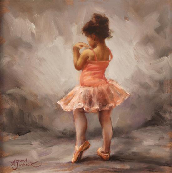 Amanda Jackson, Original oil painting on panel, I'm Shy No frame image. Click to enlarge