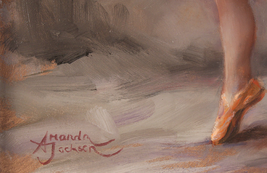Amanda Jackson, Original oil painting on panel, I'm Shy Signature image. Click to enlarge