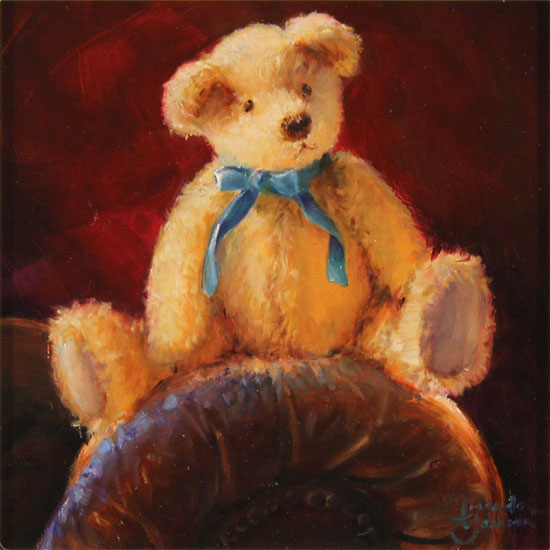 Amanda Jackson, Original oil painting on panel, Bear's Blue Ribbon