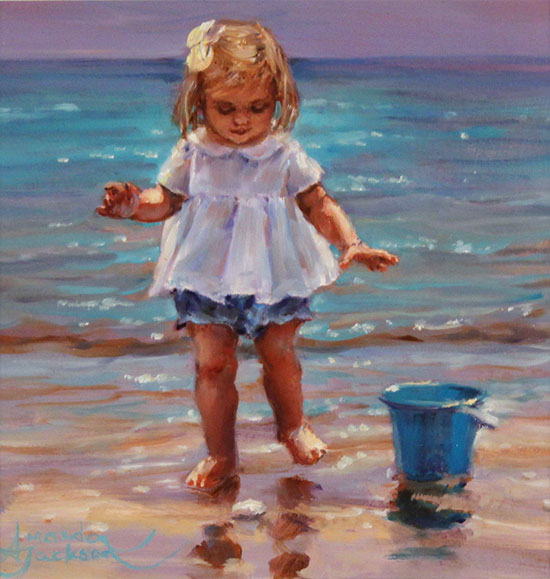 Amanda Jackson, Original oil painting on panel, Day at the Seaside No frame image. Click to enlarge