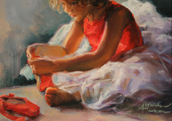 Amanda Jackson, Original oil painting on panel, Ruby Slippers Signature image. Click to enlarge