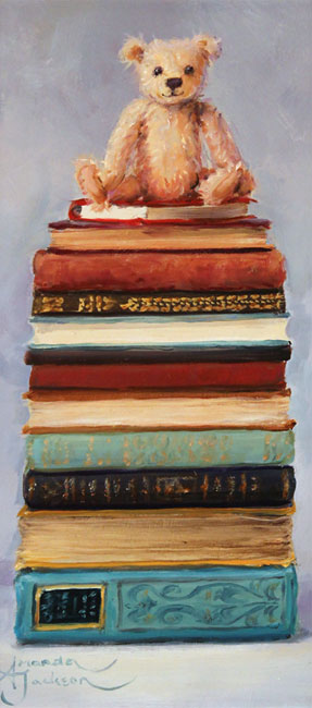 Amanda Jackson, Original oil painting on panel, Little Bear's Big Reads No frame image. Click to enlarge