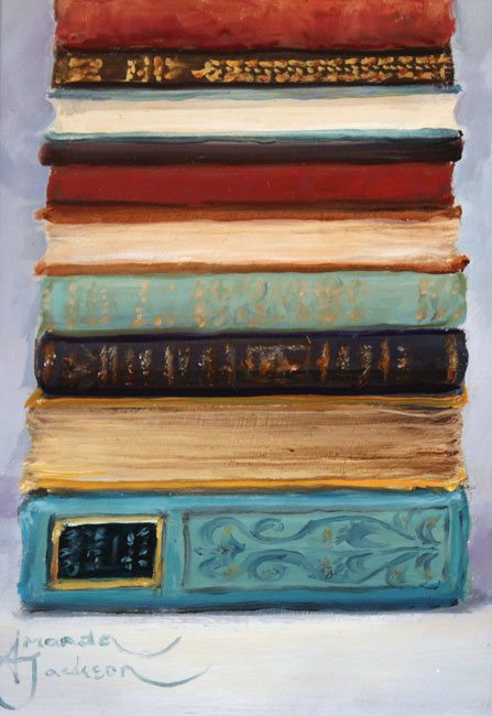 Amanda Jackson, Original oil painting on panel, Little Bear's Big Reads Signature image. Click to enlarge