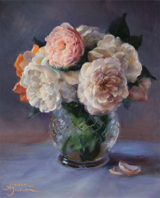 Amanda Jackson, Original oil painting on panel, Garden Bouquet  No frame image. Click to enlarge
