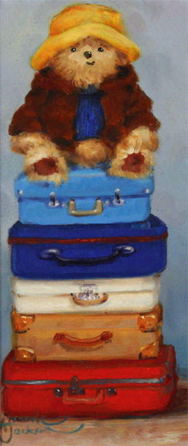 Amanda Jackson, Original oil painting on panel, Top of the World Travelling Bear No frame image. Click to enlarge