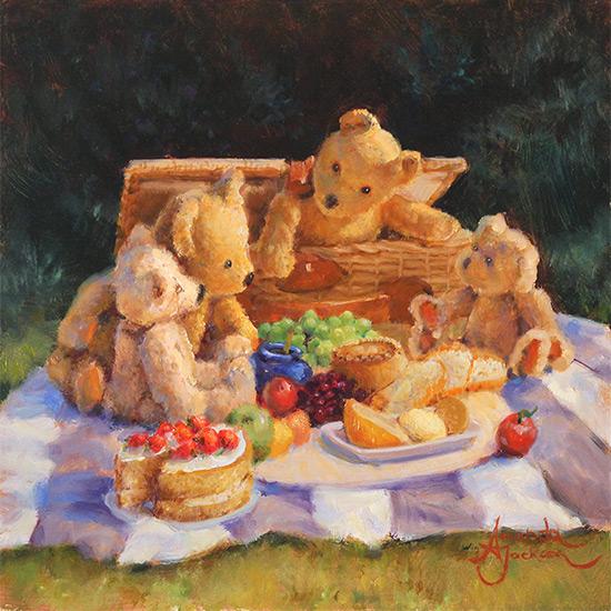 Amanda Jackson, Original oil painting on panel, Teddy Bear's  Picnic No frame image. Click to enlarge