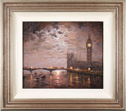 Andrew Grant Kurtis, Original oil painting on panel, Westminster Chimes at Midnight
