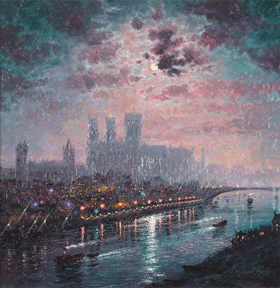 Andrew Grant Kurtis, Original oil painting on panel, Moonlight Reflections, York Minster