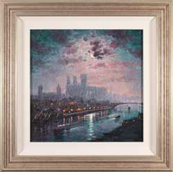 Andrew Grant Kurtis, Moonlight Reflections, York Minster, Original oil painting on panel