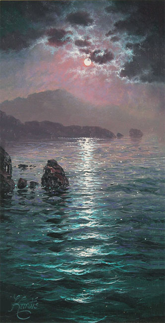Andrew Grant Kurtis, Original oil painting on canvas, Moonlight Sparkle, Lakeland No frame image. Click to enlarge
