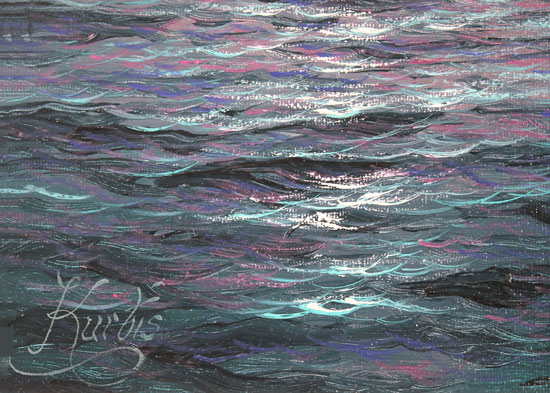 Andrew Grant Kurtis, Original oil painting on canvas, Moonlight Sparkle, Lakeland Signature image. Click to enlarge