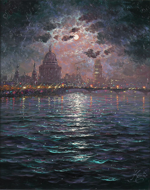 Andrew Grant Kurtis, Original oil painting on canvas, Moonlight Sparkle Across the Thames