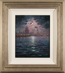 Andrew Grant Kurtis, Moonlight Sparkle Across the Thames, Original oil painting on canvas
