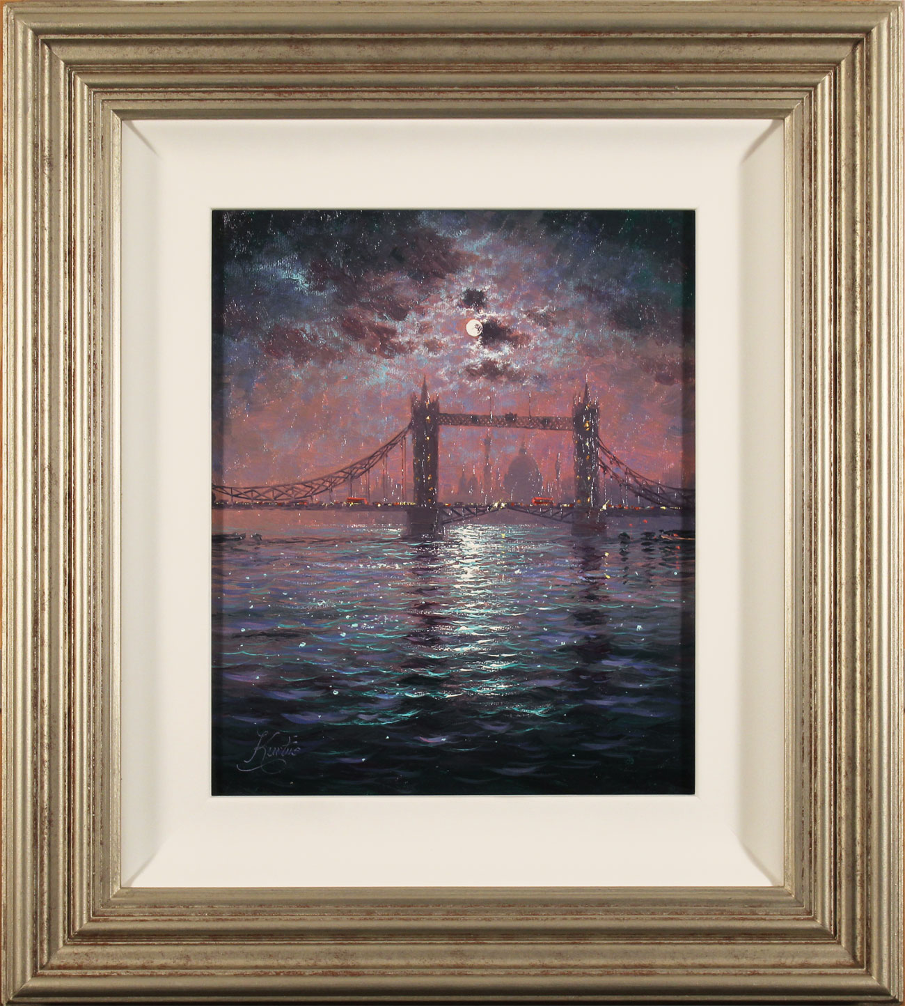 Andrew Grant Kurtis, Original oil painting on canvas, Tower Bridge by Moonlight Click to enlarge
