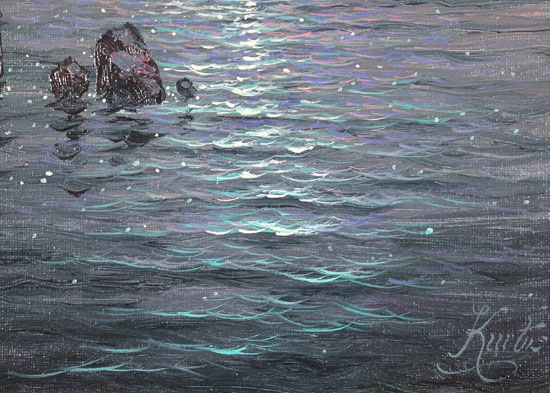 Andrew Grant Kurtis, Original oil painting on canvas, Moonlight Sparkle  Signature image. Click to enlarge