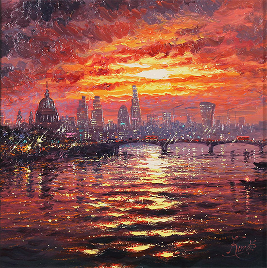 Andrew Grant Kurtis, Original oil painting on canvas, Thames Sparkle at Sunset  No frame image. Click to enlarge