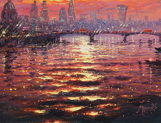 Andrew Grant Kurtis, Original oil painting on canvas, Thames Sparkle at Sunset  Signature image. Click to enlarge