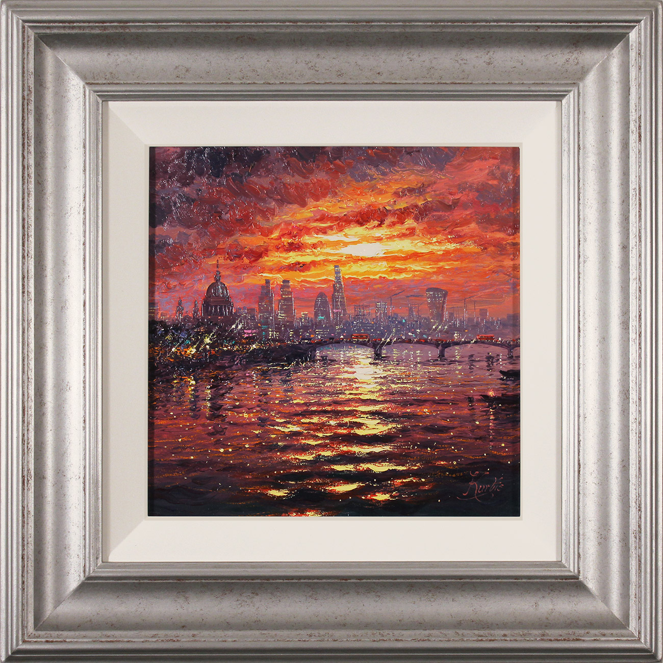 Andrew Grant Kurtis, Original oil painting on canvas, Thames Sparkle at Sunset  Click to enlarge