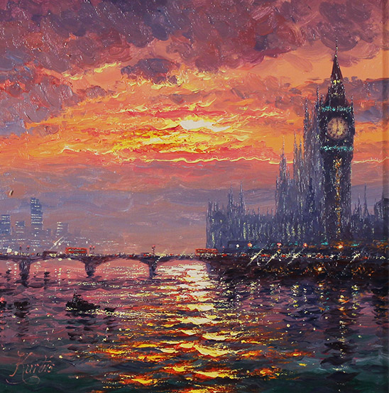 Andrew Grant Kurtis, Original oil painting on canvas, Moonlight Sparkle, Westminster  No frame image. Click to enlarge