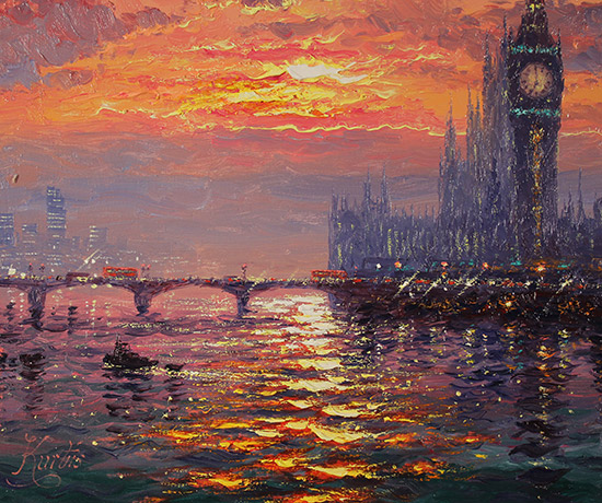Andrew Grant Kurtis, Original oil painting on canvas, Moonlight Sparkle, Westminster  Signature image. Click to enlarge