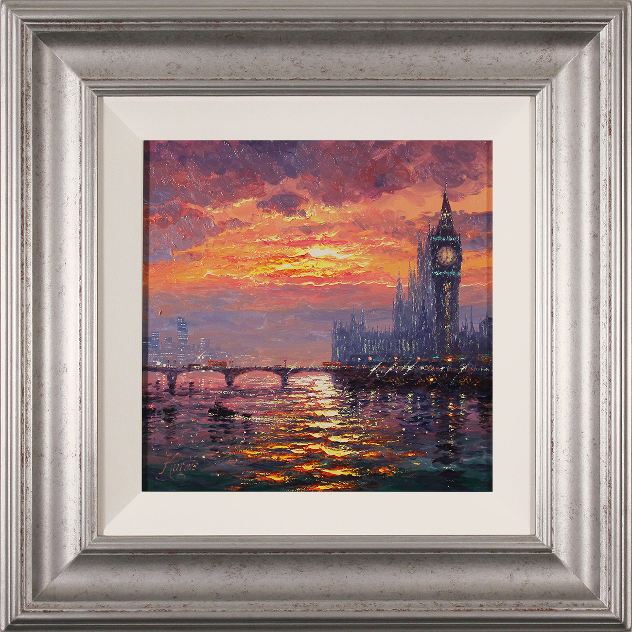 Andrew Grant Kurtis, Original oil painting on canvas, Moonlight Sparkle, Westminster  Click to enlarge