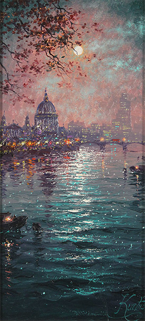 Andrew Grant Kurtis, Original oil painting on panel, Moonlight Sparkle across the Thames  No frame image. Click to enlarge