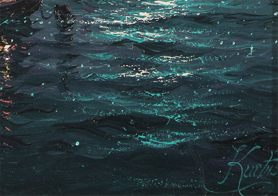 Andrew Grant Kurtis, Original oil painting on panel, Moonlight Sparkle across the Thames  Signature image. Click to enlarge