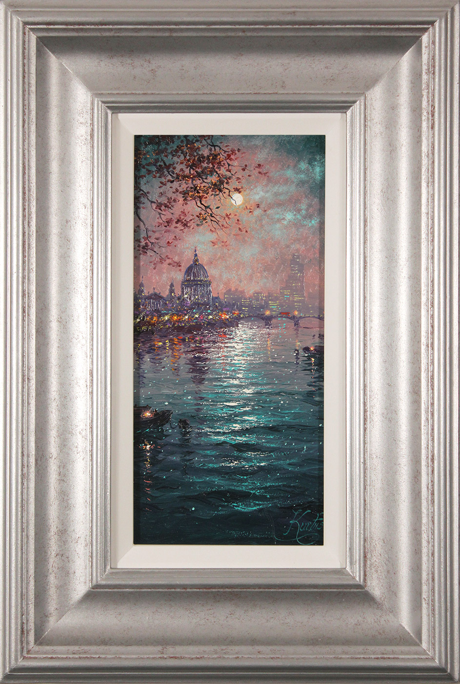 Andrew Grant Kurtis, Original oil painting on panel, Moonlight Sparkle across the Thames  Click to enlarge